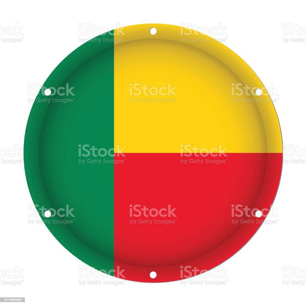 round metallic flag of Benin with screw holes vector art illustration