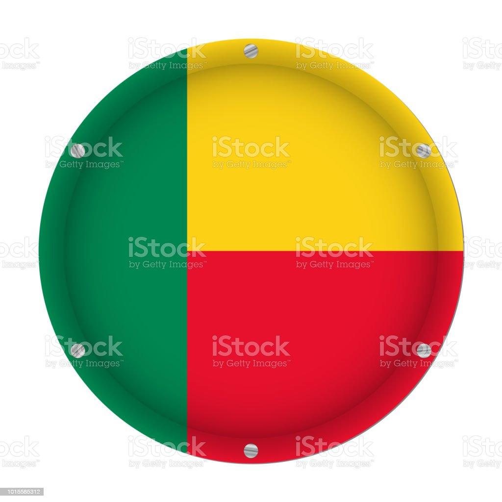 round metallic flag of Benin with screws vector art illustration