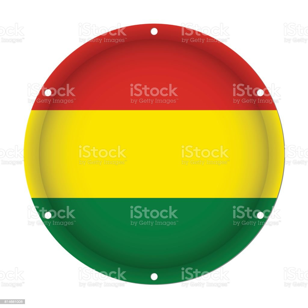 round metallic flag of Bolivia with screw holes vector art illustration