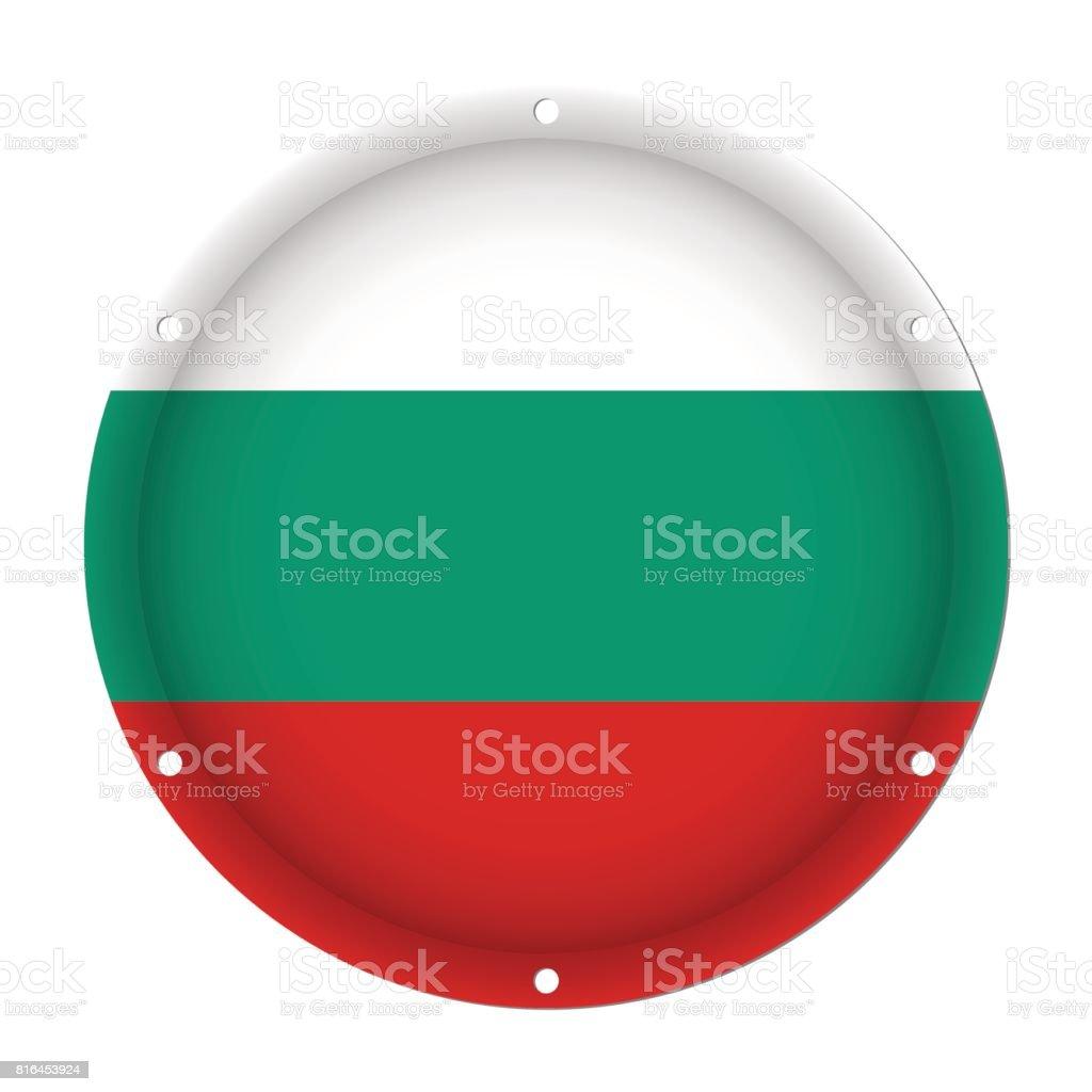 round metallic flag of Bulgaria with screw holes vector art illustration