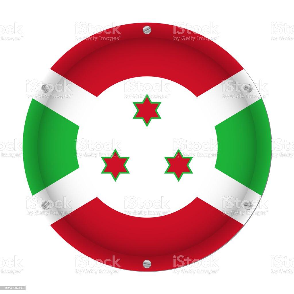 round metallic flag of Burundi with screws vector art illustration