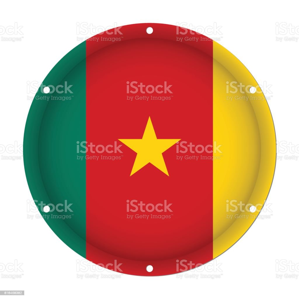 round metallic flag of Cameroon with screw holes vector art illustration