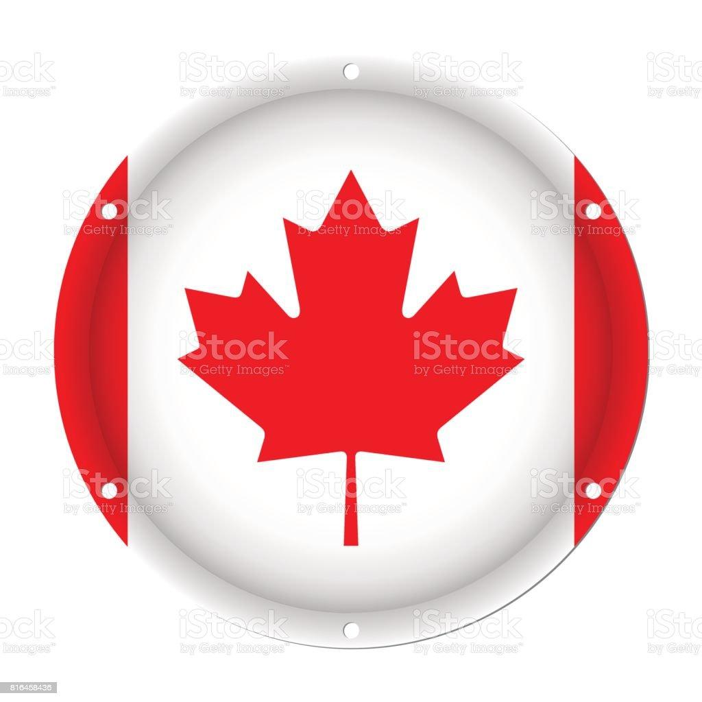 round metallic flag of Canada with screw holes vector art illustration