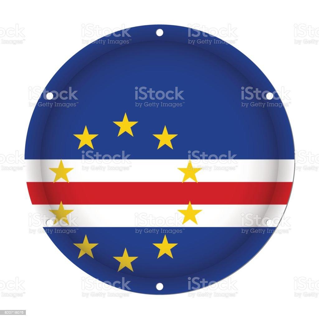round metallic flag of Cape Verde with screw holes vector art illustration