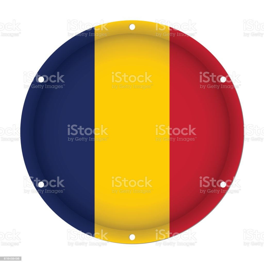round metallic flag of Chad with screw holes vector art illustration
