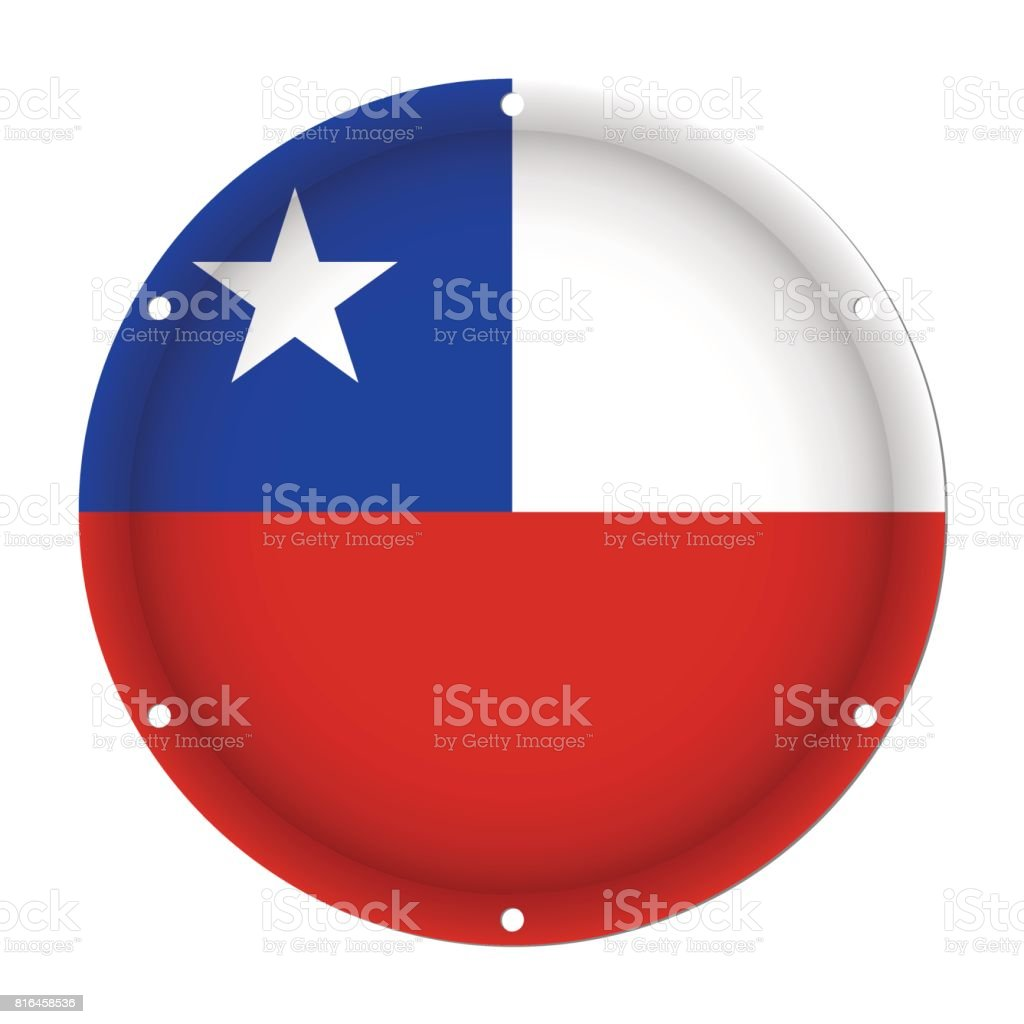 round metallic flag of Chile with screw holes vector art illustration