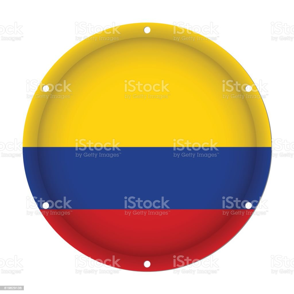 round metallic flag of Colombia with screw holes vector art illustration