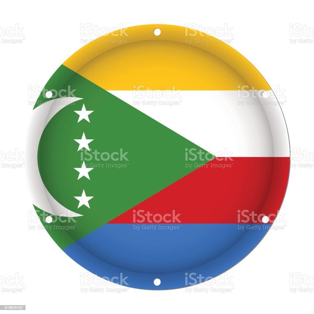 round metallic flag of Comoros with screw holes vector art illustration