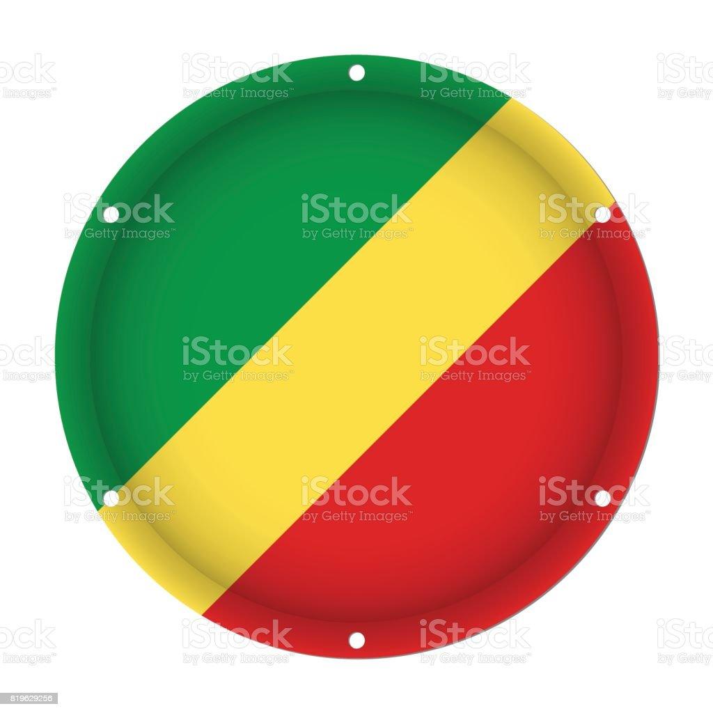 round metallic flag of Congo with screw holes vector art illustration