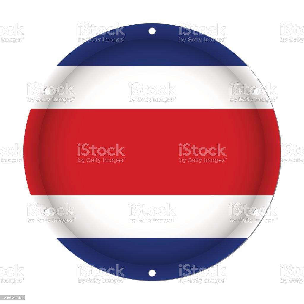 round metallic flag of Costa Rica with screw holes vector art illustration