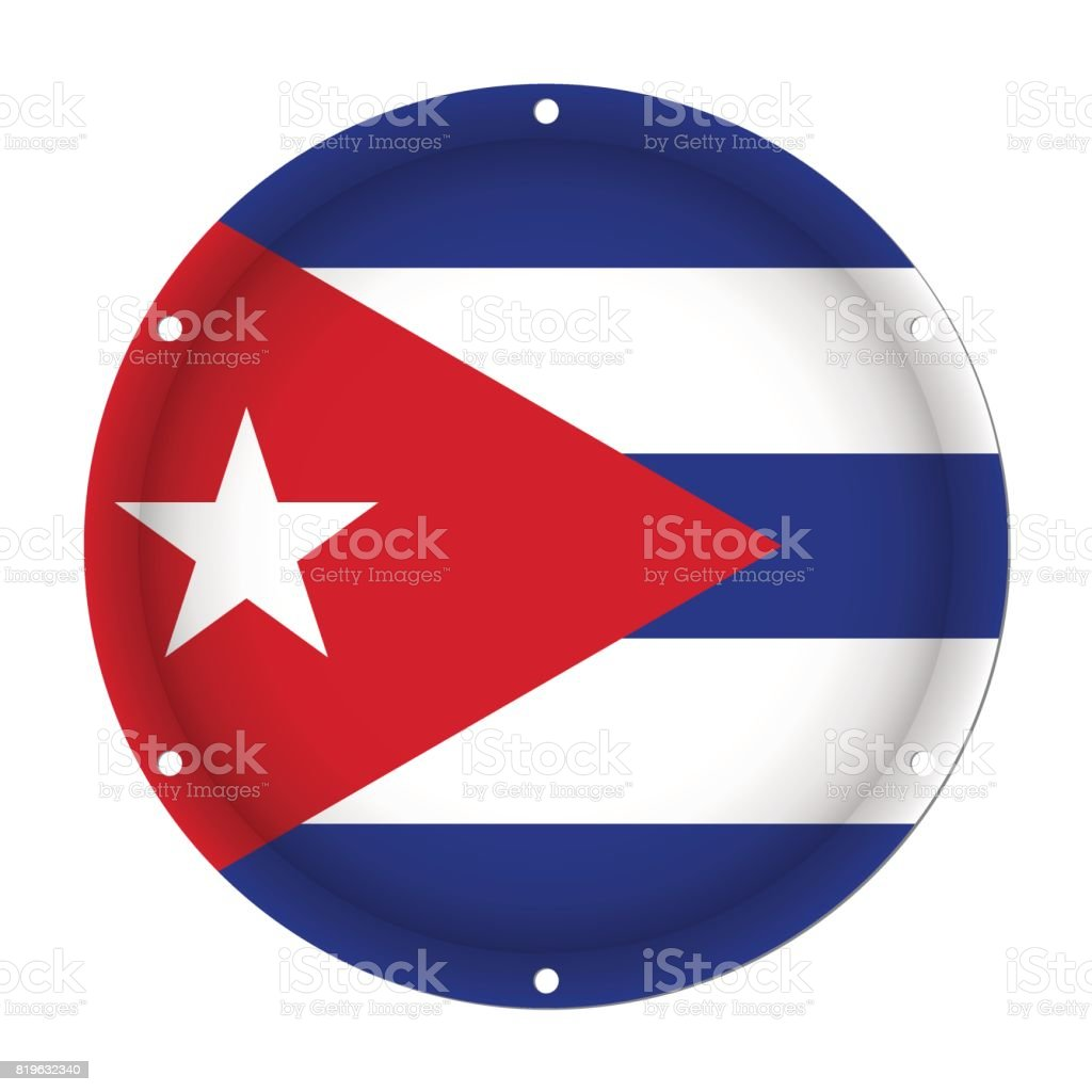 round metallic flag of Cuba with screw holes vector art illustration