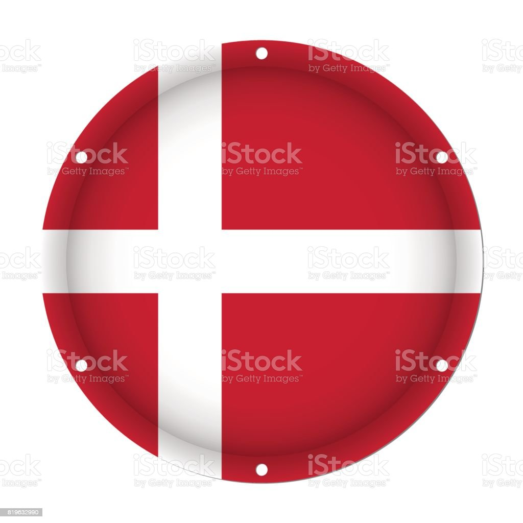 round metallic flag of Denmark with screw holes vector art illustration
