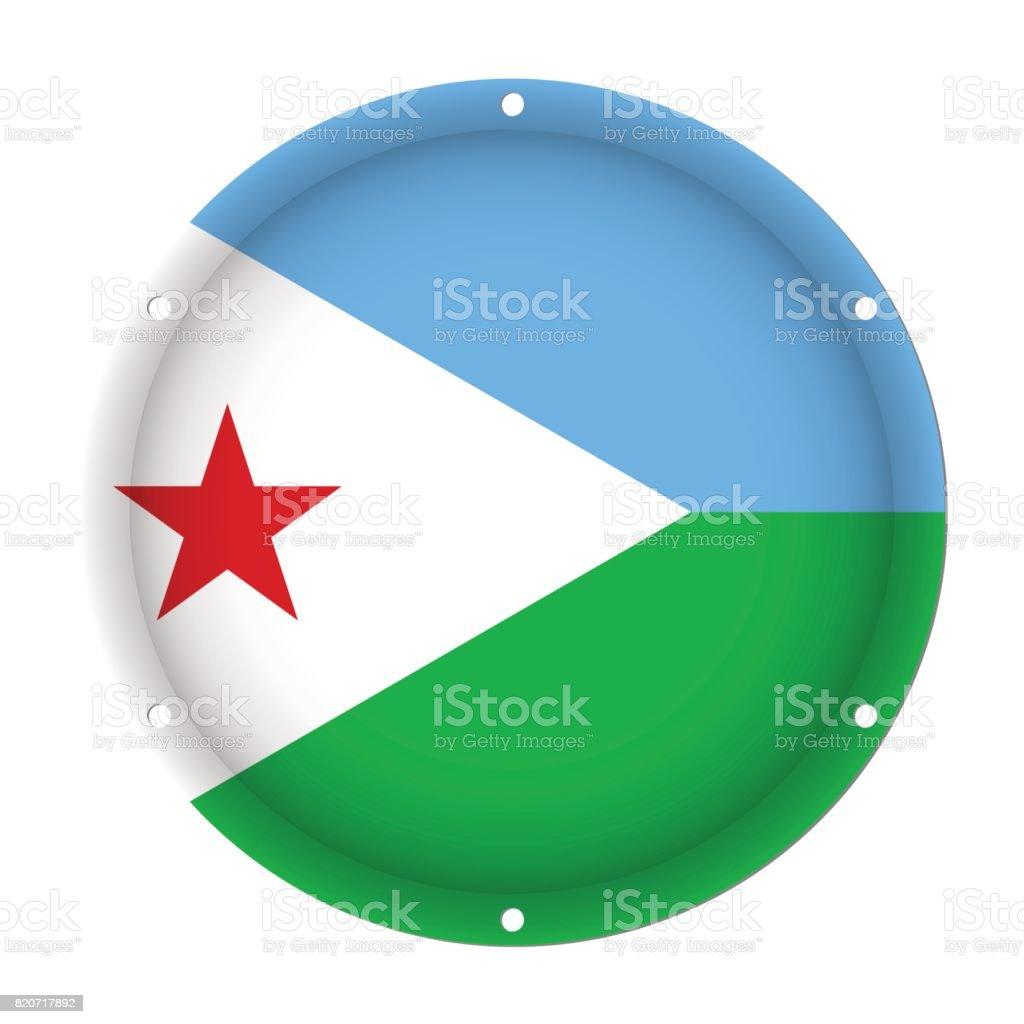 round metallic flag of Djibouti with screw holes vector art illustration