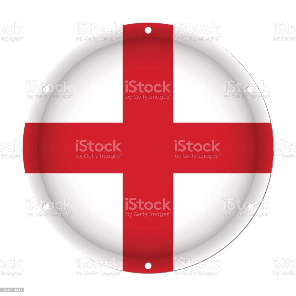 round metallic flag of England with screw holes vector art illustration
