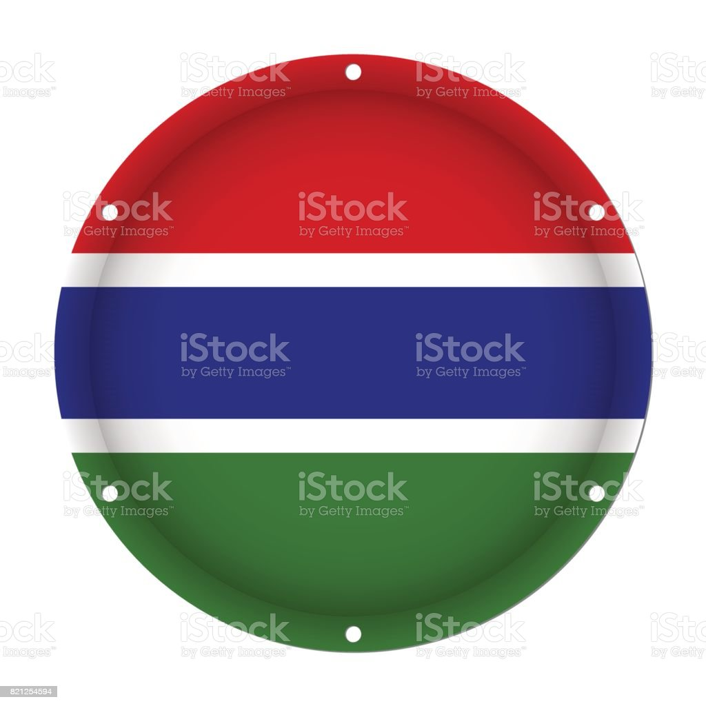 round metallic flag of Gambia with screw holes vector art illustration