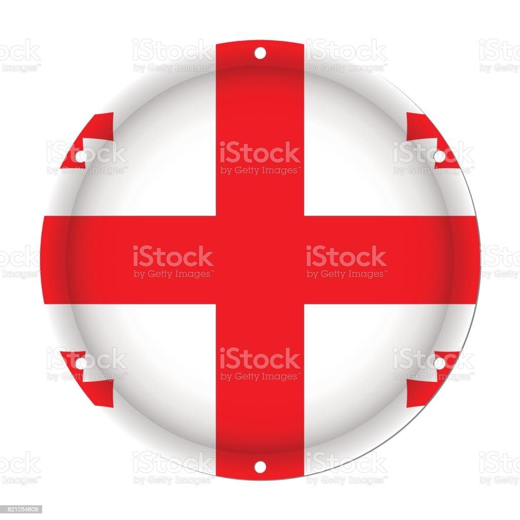 round metallic flag of Georgia with screw holes vector art illustration