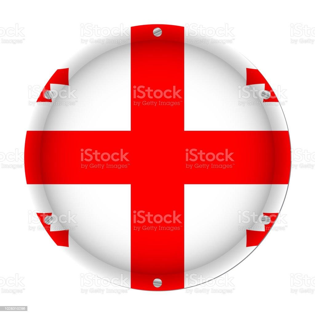 round metallic flag of Georgia with screws vector art illustration