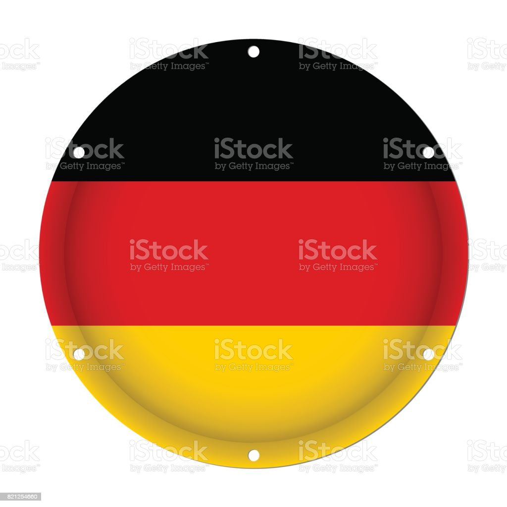 round metallic flag of Germany with screw holes vector art illustration