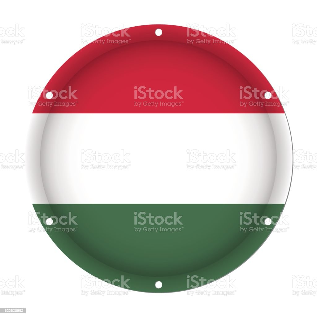 round metallic flag of Hungary with screw holes vector art illustration
