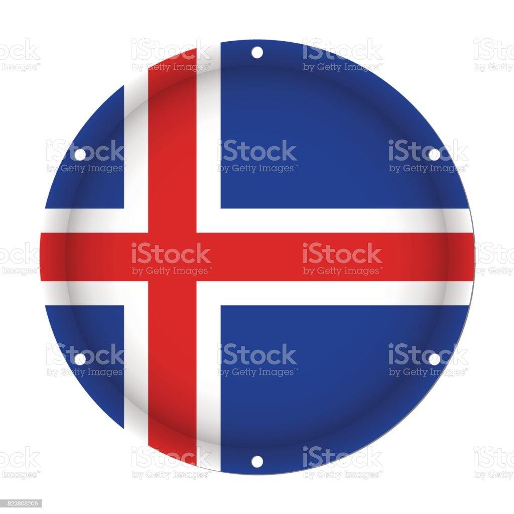 round metallic flag of Iceland with screw holes vector art illustration