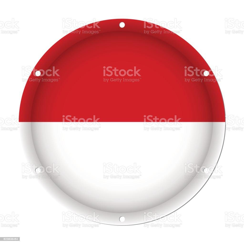 round metallic flag of Indonesia with screw holes vector art illustration
