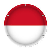 round metallic flag of Indonesia with six screws in front of a white background