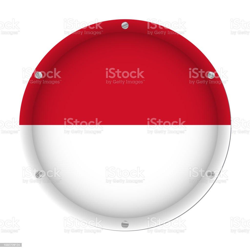 round metallic flag of Indonesia with screws vector art illustration