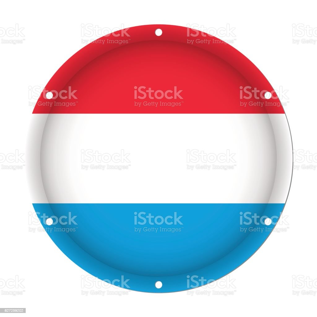 round metallic flag of Luxembourg with screw holes vector art illustration