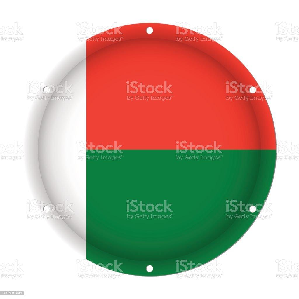 round metallic flag of Madagascar with screw holes vector art illustration