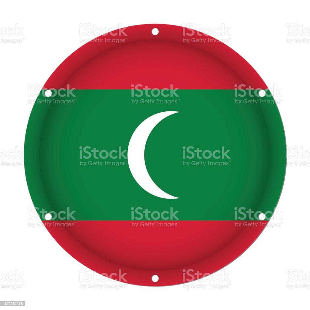 round metallic flag of Maldives with screw holes vector art illustration