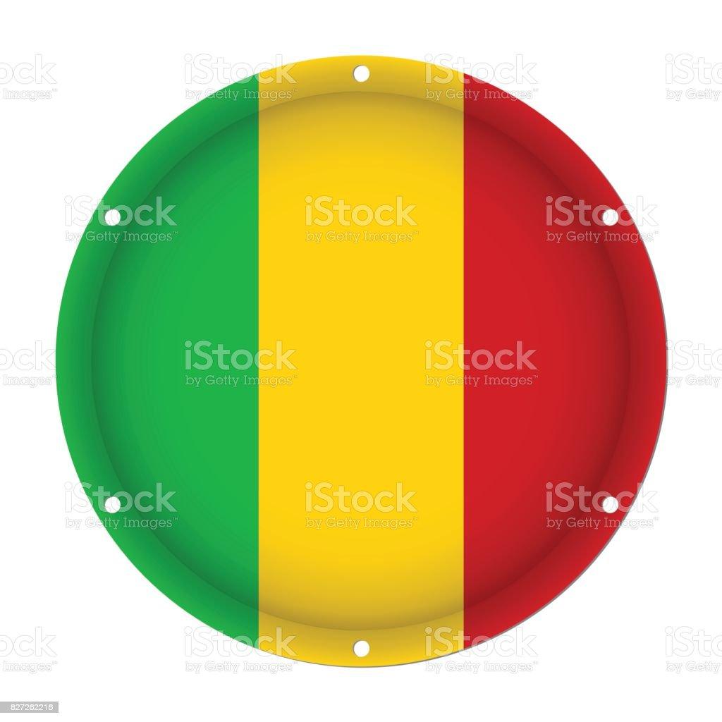round metallic flag of Mali with screw holes vector art illustration