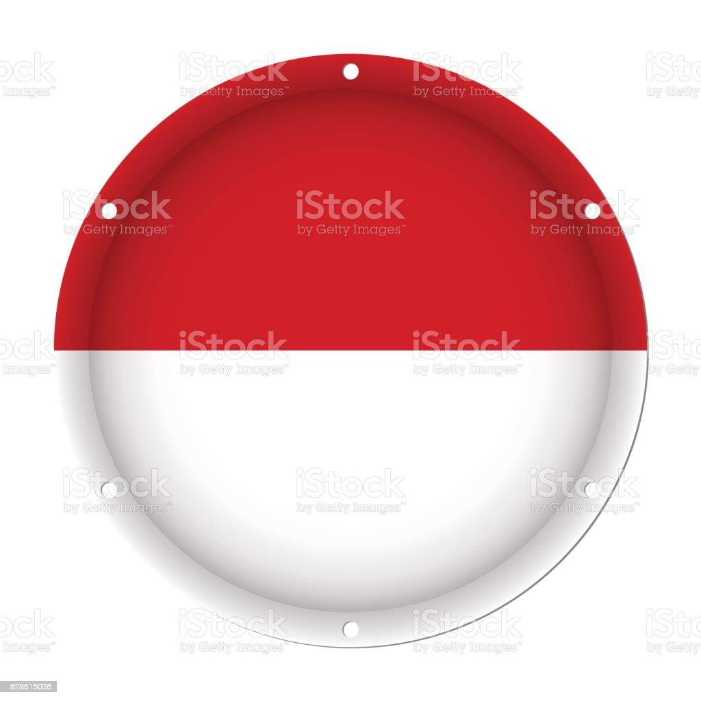 round metallic flag of Monaco with screw holes vector art illustration