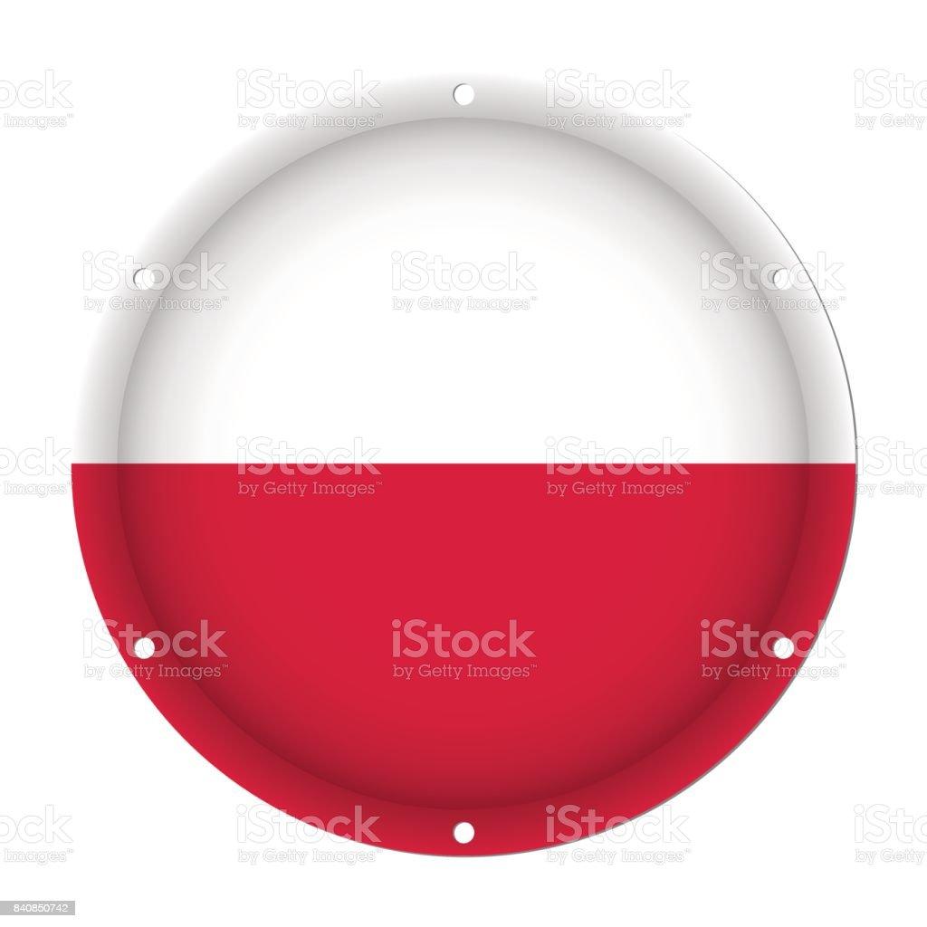 round metallic flag of Poland with screw holes vector art illustration
