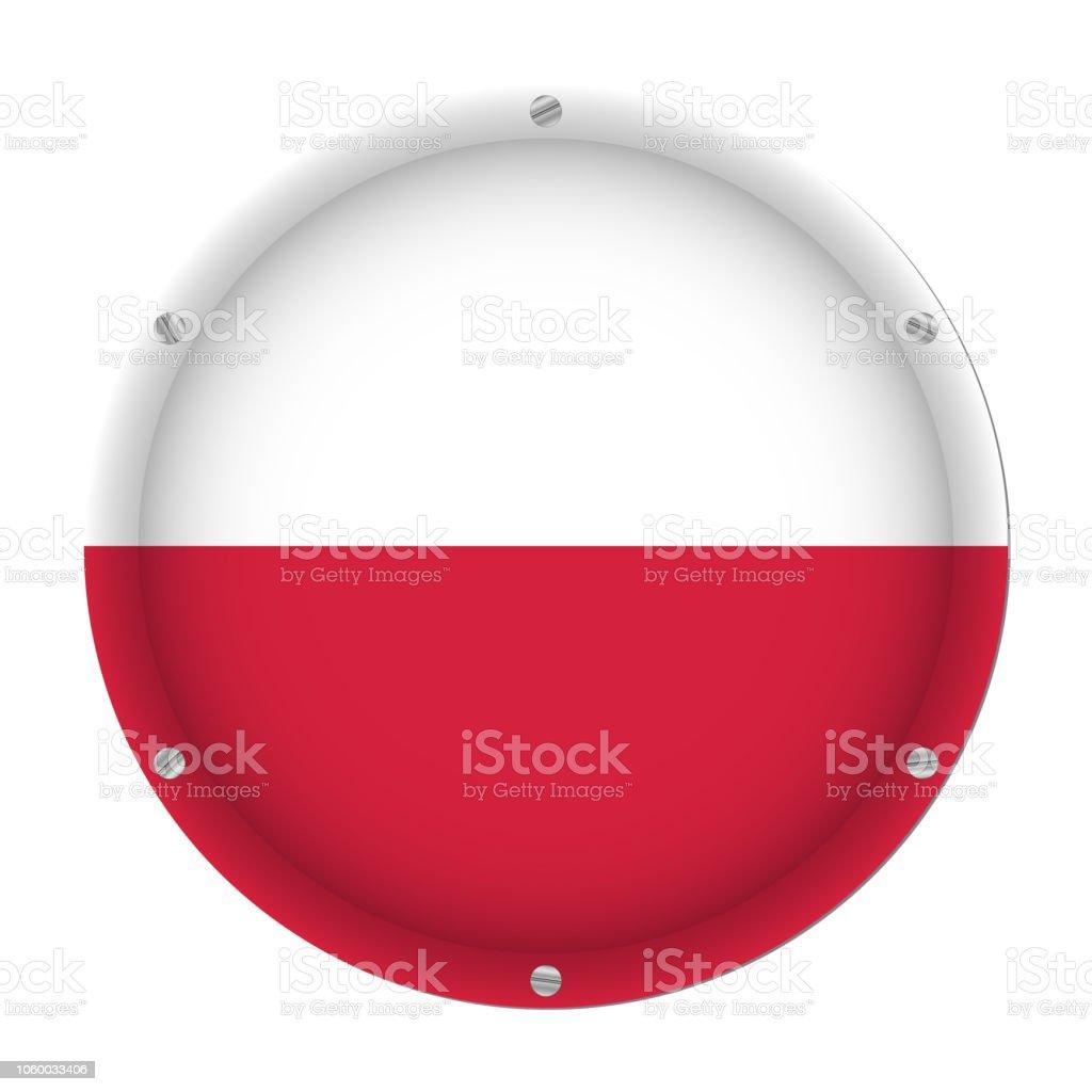 round metallic flag of Poland with screws vector art illustration