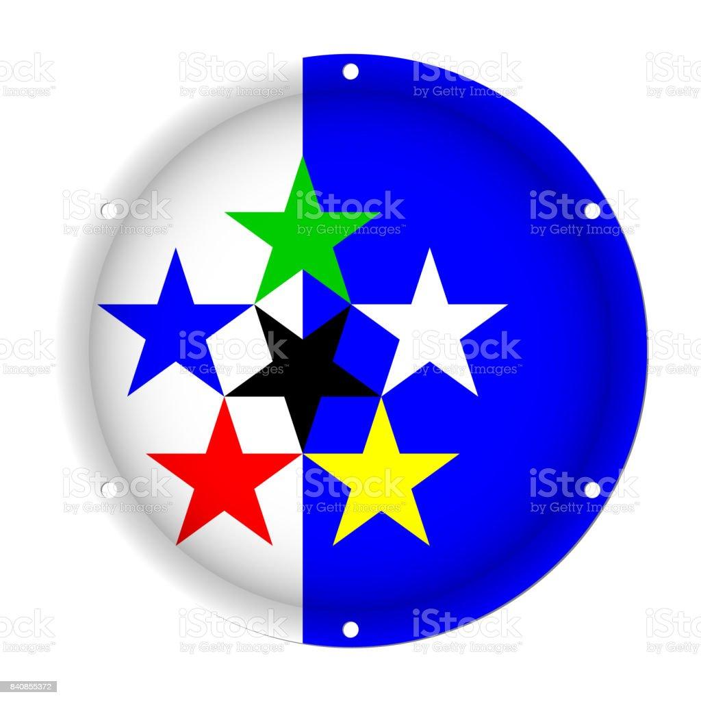 round metallic flag of STAT with screw holes vector art illustration