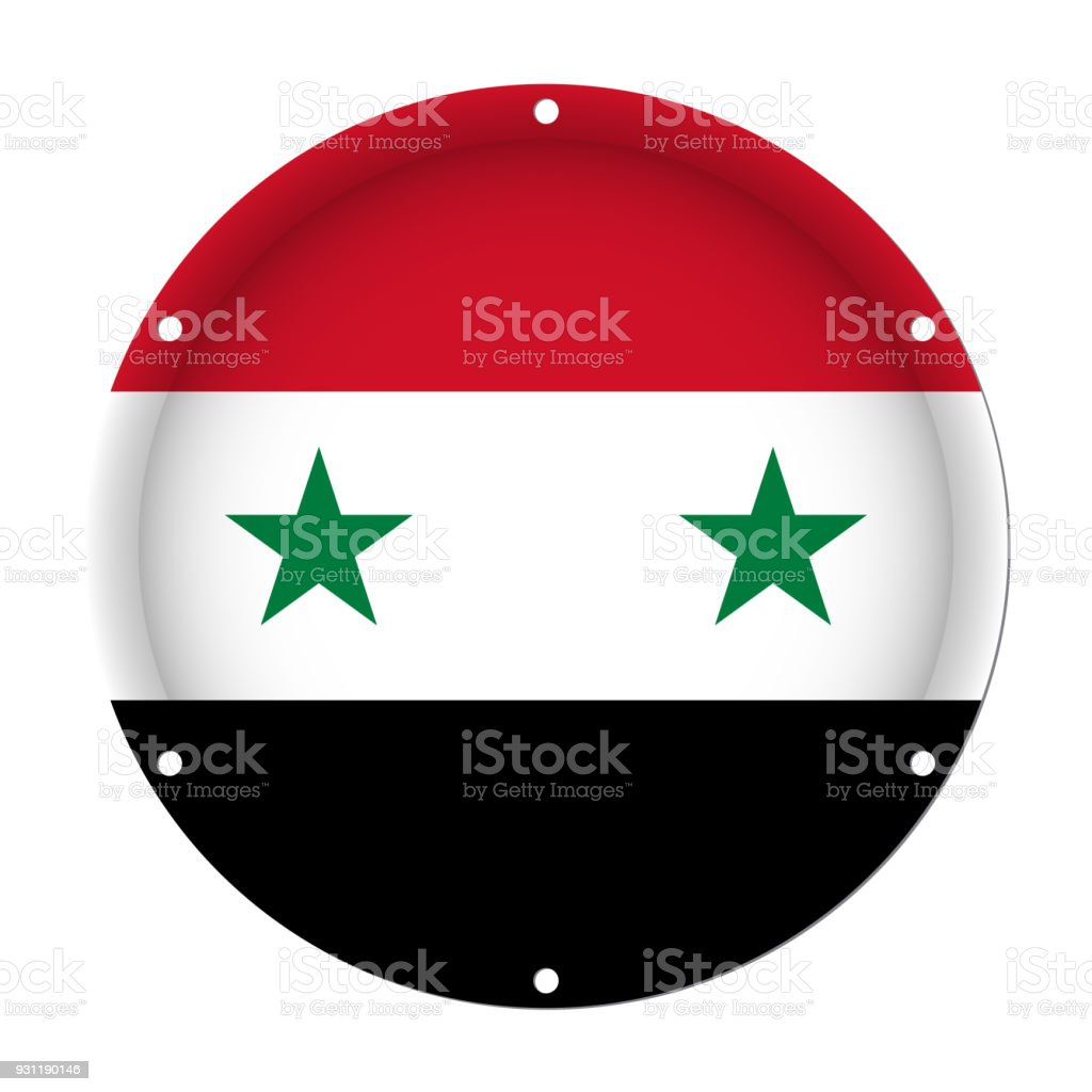 round metallic flag of Syria with screw holes vector art illustration