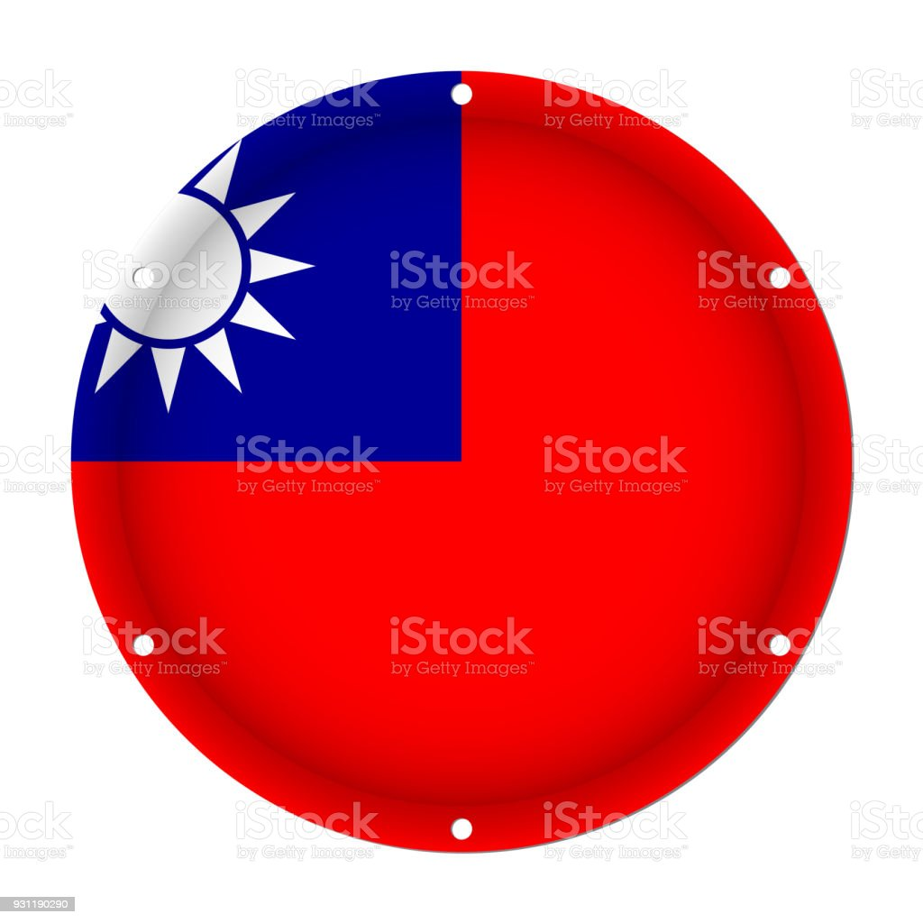 round metallic flag of Taiwan with screw holes vector art illustration