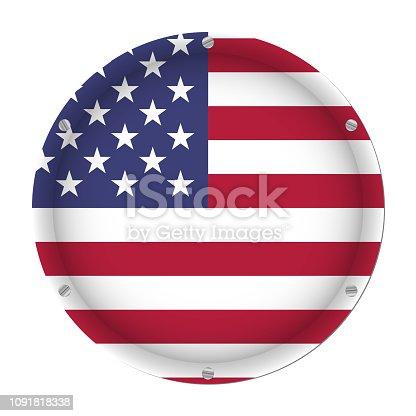 186827106istockphoto round metallic flag of USA with screws 1091818338