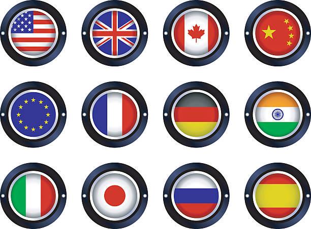 ラウンドメタリックの旗 - イギリスの国旗点のイラスト素材/クリップアート素材/マンガ素材/アイコン素材