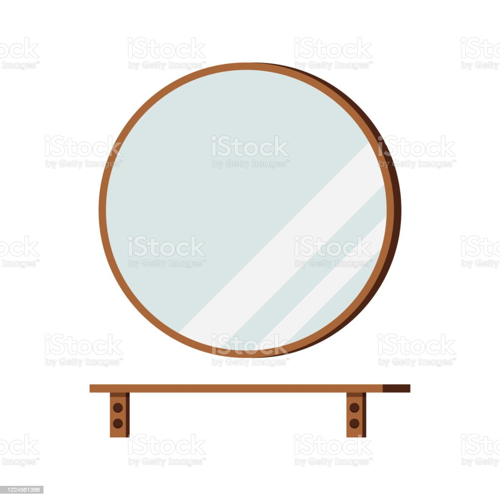 Round Mirror With Shelf Isolated On White Background Stock Illustration Download Image Now Istock