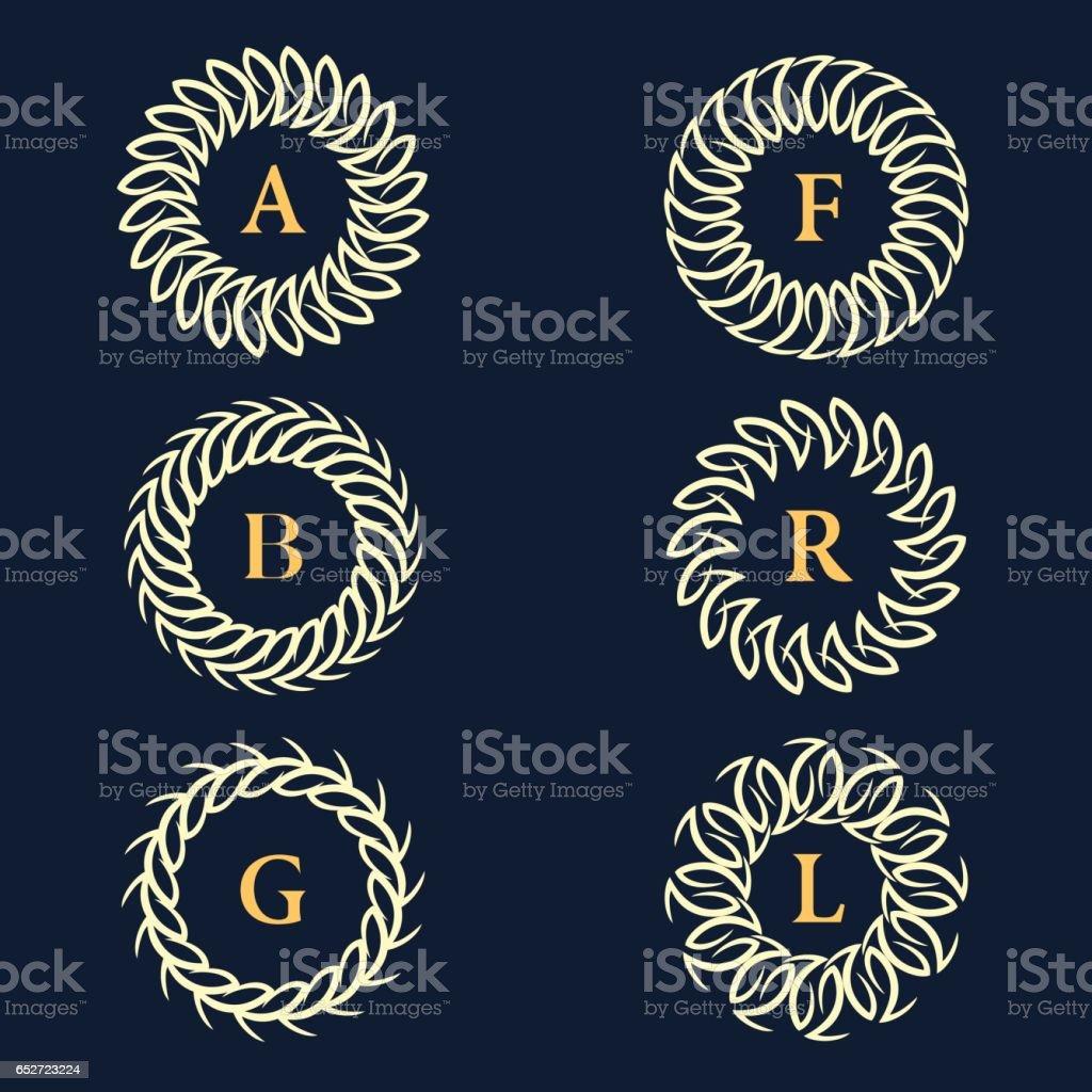 Runde Monogramm Designelemente Anmutige Vorlage Elegante ...