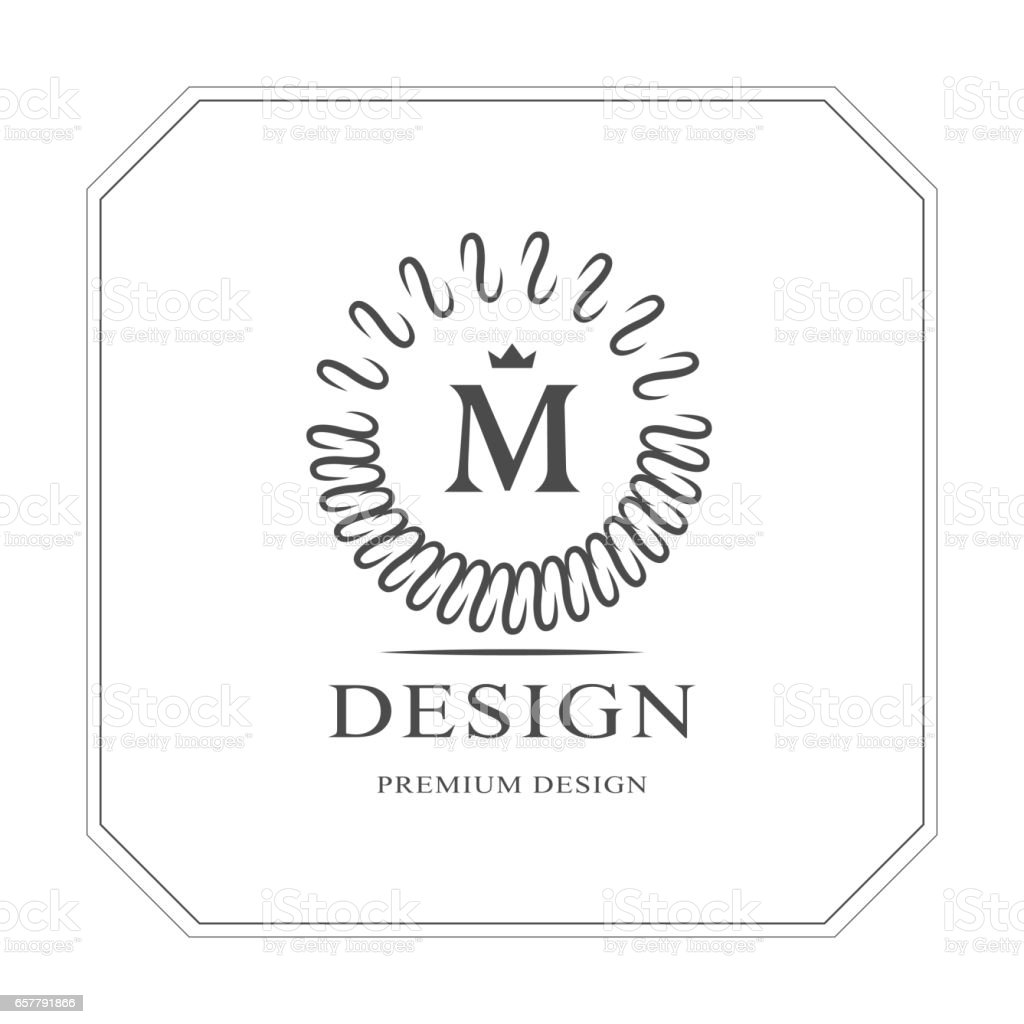 round monogram design elements graceful template elegant