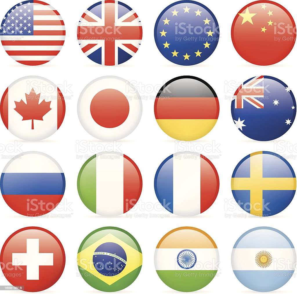 Round most popular flag icons vektorkonstillustration