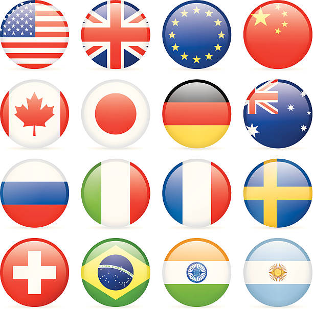 round most popular flag icons - union jack flag stock illustrations, clip art, cartoons, & icons