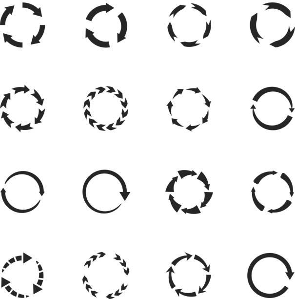 bildbanksillustrationer, clip art samt tecknat material och ikoner med runda rörelser vektor pilsymboler. cirkel pilar ikoner - kontinuitet