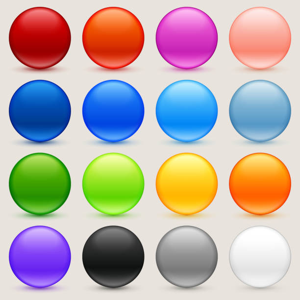 Round Multi Colored Sphere Buttons Collection Round Multi Colored Sphere Buttons Collection gum drop stock illustrations
