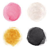 Set of pink, silver, gold, black vectorized round watercolor splashes.