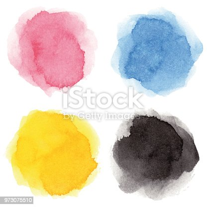 Set of blue, rose colored, yellow, black vectorized round watercolor splashes.