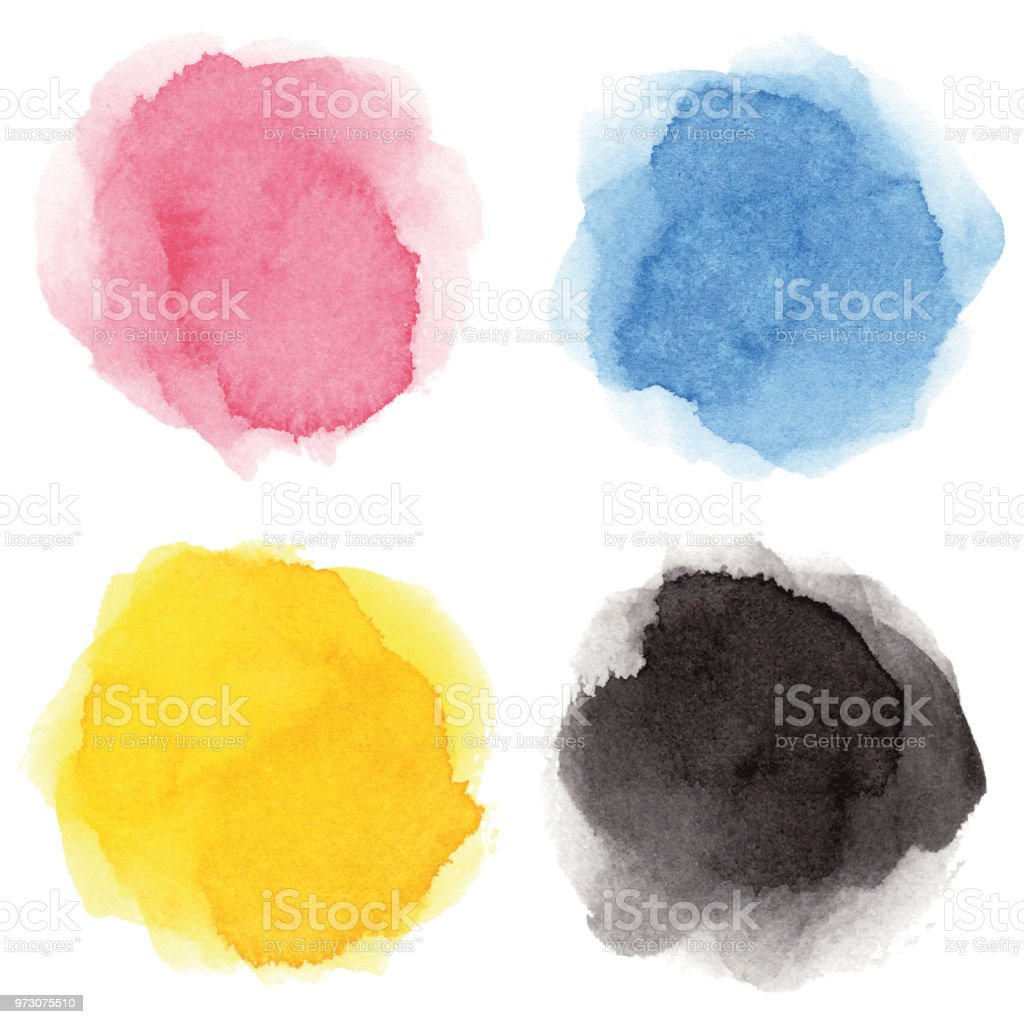 Round multicolored watercolor spots vector art illustration