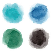 Set of cyan, blue, green, black vectorized round watercolor splashes.